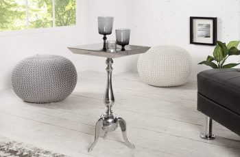 Barock stôl Jardin 55cm strieborná eckig