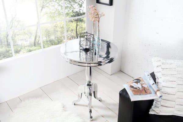 Barock stôl Jardin 75cm strieborná rund