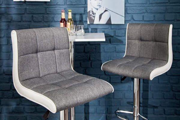 Barová stolička A-042 - sivá biela