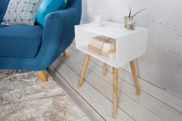 Biely drevený nočný stolík Scandinavia 30 x 40 cm »