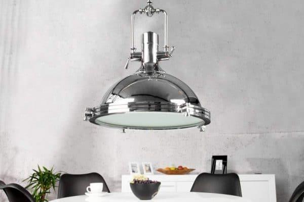 Chrómovaná závesná lampa Industrial Ø 45 cm »