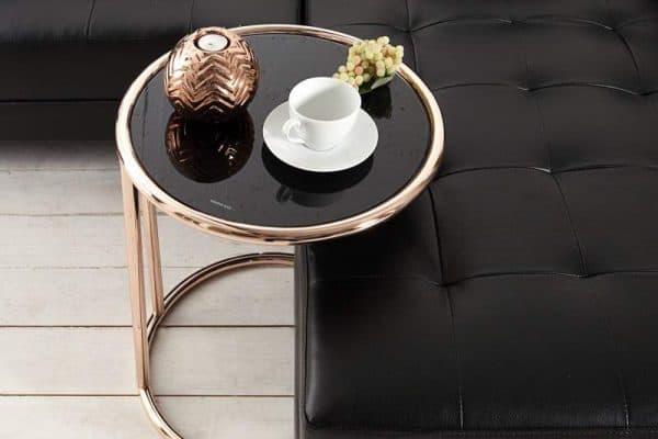 Čierny sklenený konferenčný stolík Art Deco Ø 40 cm »