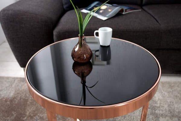 Čierny sklenený konferenčný stolík Art Deco Ø 45 cm »