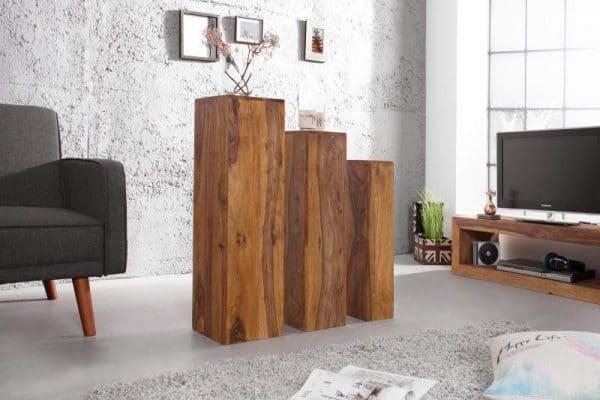 Drevený konferenčný stolík Makassar – set 3 ks »