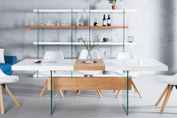 Jedálenský stôl Onyx 160-200cm biela sklo-dub
