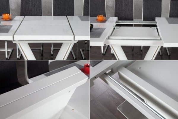 Jedálenský stôl Valencia 160-220cm biela rozšíriteľný