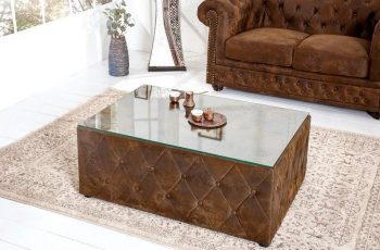 Konferenčný stolík Chesterfield 100cm - hnedá (antik look)