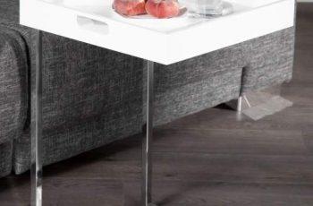 Konferenčný stolík Ciano biela chróm / stolík (podnos)