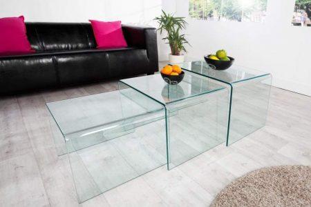 Konferenčný stolík Ghost set 3ks- sklo