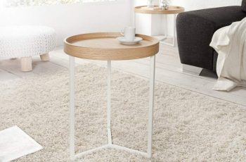 Konferenčný stolík Hammerschlag-Optik 60cm - biela