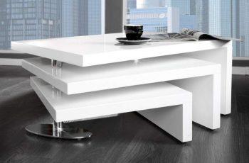 Konferenčný stolík Hammerschlag-Optik 60cm - biela vysokolesklá