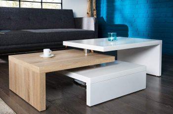 Konferenčný stolík Hammerschlag-Optik 60cm - biela vysokolesklá - Sonomia dub Optik