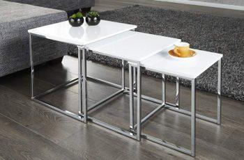 Konferenčný stolík New Fusion set 2ks - biela vysokolesklá