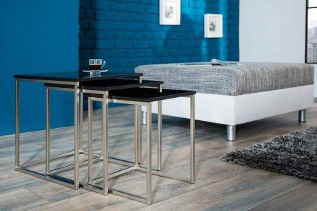 Konferenčný stolík New Fusion set 2ks - čierna matná