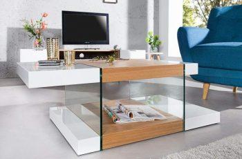 Konferenčný stolík Onyx 110cm biela sklo-dub