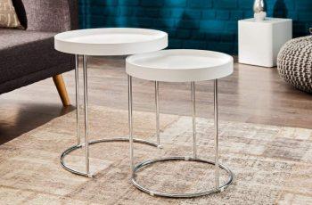 Konferenčný stolík Two-Way set 2ks biela strieborná