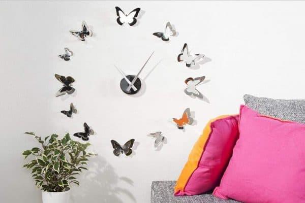 Nástenné hodiny Butterflies chróm