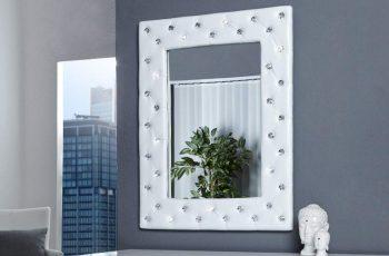 Nástenné zrkadlo Boutique 80cm biela umelá koža