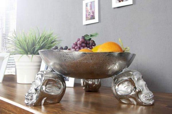 Ovocná misa Skull strieborná 35 cm