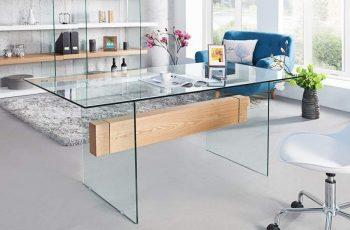 Písací stôl Onyx 160cm sklo-dub