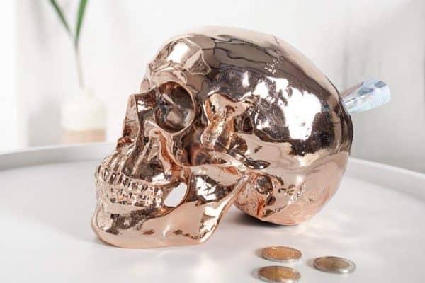 Pokladnička Skull 20cm - meď