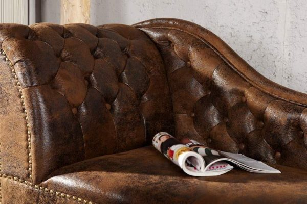 Recamiere Chesterfield - hnedá (antik look)