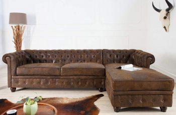 Rohová sedačka Chaise Lounge - antik hnedá