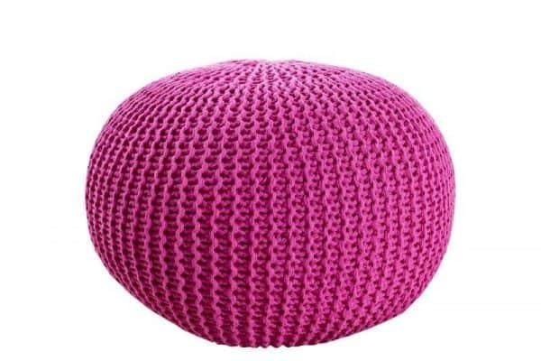 Ružová štrikovaná podnožka Ø 50 cm »