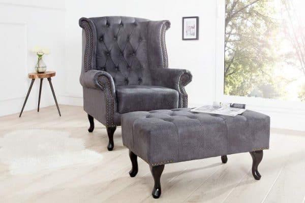 Sivá podnožka Chesterfield antik »