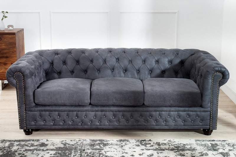 sofa chesterfield 3er siv antik look ikuchyne. Black Bedroom Furniture Sets. Home Design Ideas