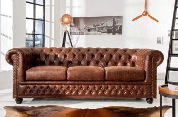 Sofa Chesterfield 3er vintage Spaltleder