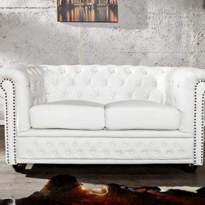 Sofa Chesterfield dvoják biela matná m. Nieten