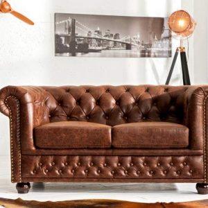 Sofa Chesterfield dvoják vintage Spaltleder