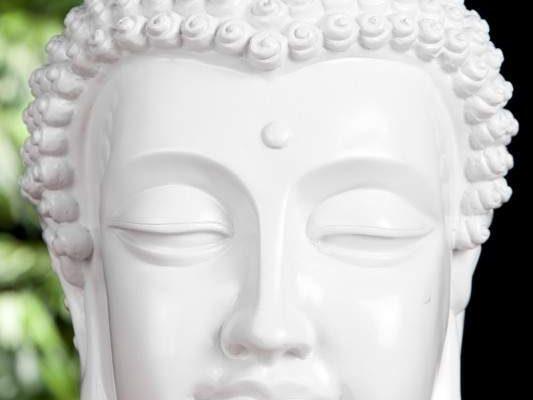 Soška Buddha Kopf 25cm - biela vysokolesklá