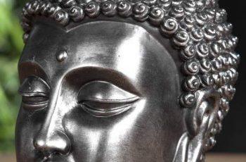 Soška Buddha Kopf 25cm - tmavo-strieborná