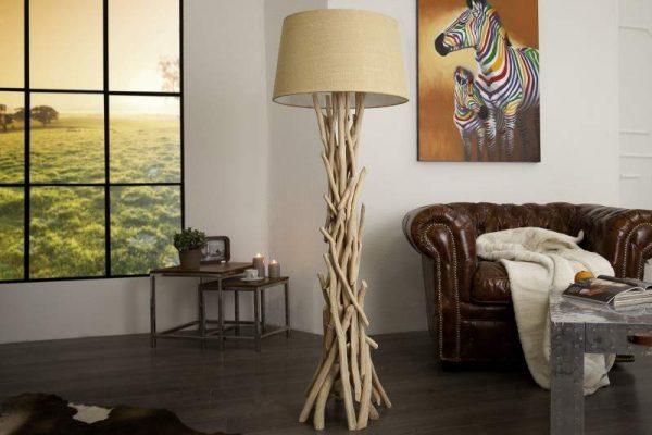 Stojanová lampa Cara 155cm naplavené drevo