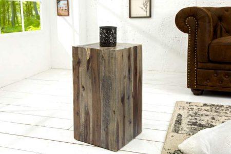 Stolík Columna vintage naplavené drevo 50 cm