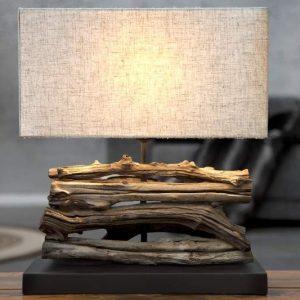 Stolová lampa - naplavené drevo Perifere béžová