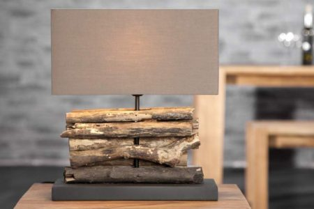 Stolová lampa - naplavené drevo Perifere hnedá