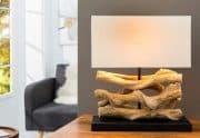 Stolová lampa - naplavené drevo Wave béžová