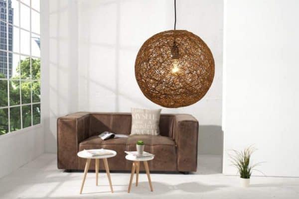 Závesná lampa Ador Stout - prírodne hnedý