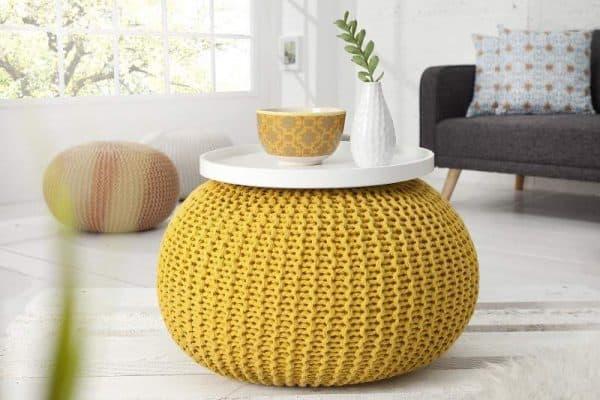 Žltá štrikovaná podnožka Ø 50 cm »