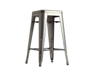Barová stolička A-042 - strieborná priehľadná