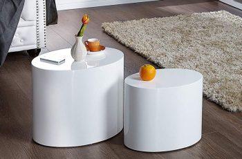 Konferenčný stolík Chesterfield 100cm - biela vysokolesklá