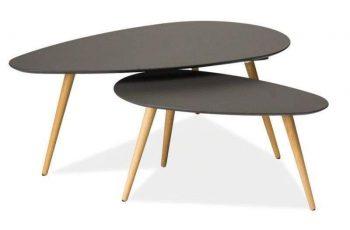 Konferenčný stolík Scandinavia set 2ks - šedá-buk