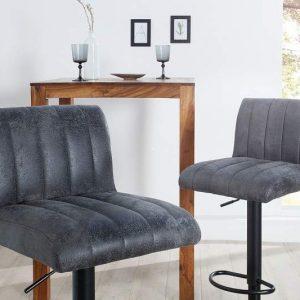 Barová stolička Portland 90-110cm vintage sivá