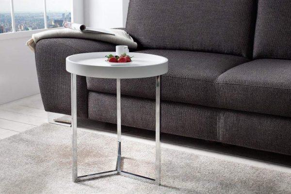 Konferenčný stolík Modul 40cm biela strieborná