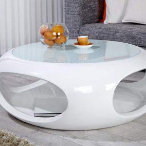 Konferenčný stolík Spin High Gloss Lack 90cm biela