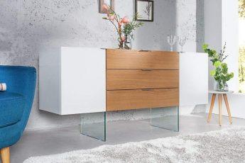 Príborník Onyx 160cm biela sklo-dub