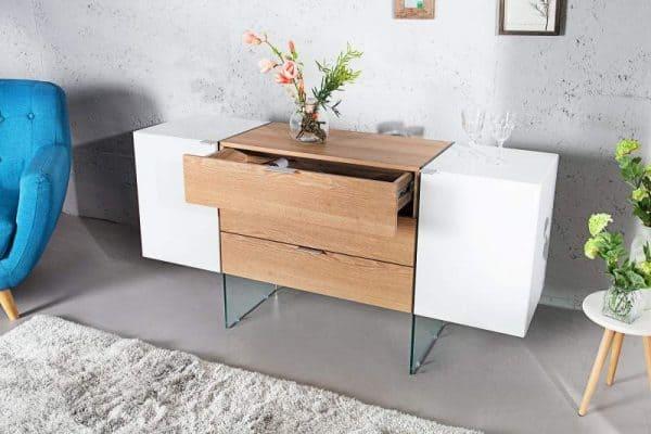 Bielo-drevená komoda Onyx 43 x 160 cm »
